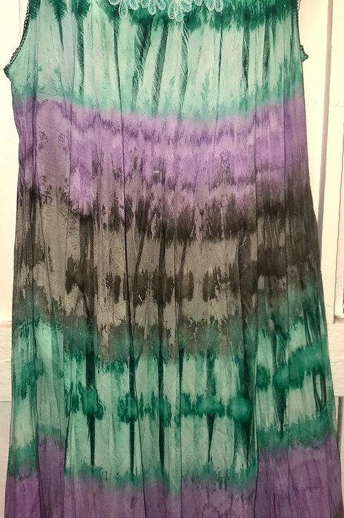 Tye Dye Dress in Purple & Green