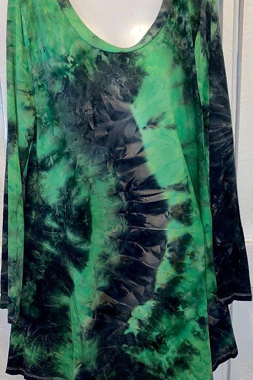 Tye Dye Dress in Green & Black