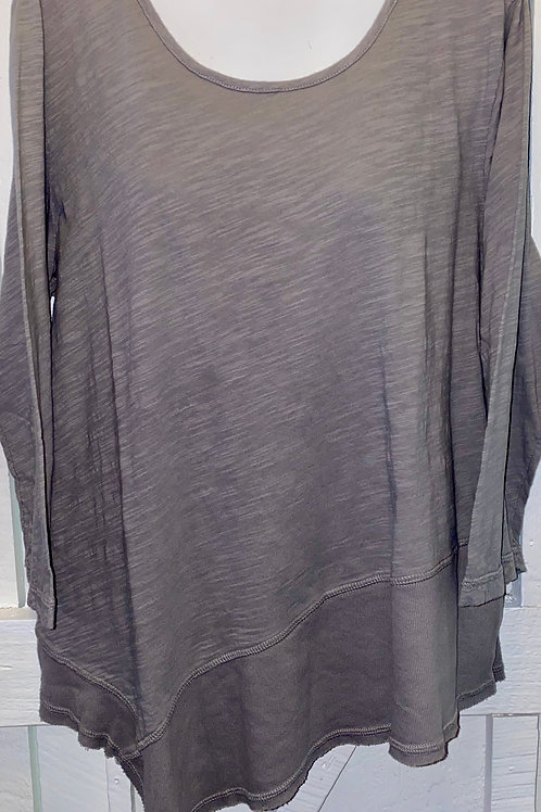 Asymmetrical Ribbed Hem Tunic in Taupe
