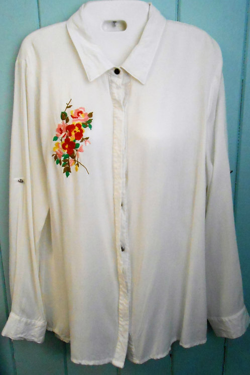 Button Up Flower Blouse