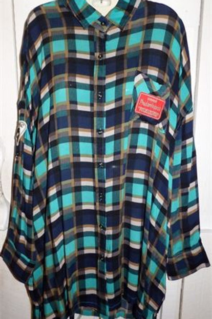 Oversized Plaid Shirt in Emerald