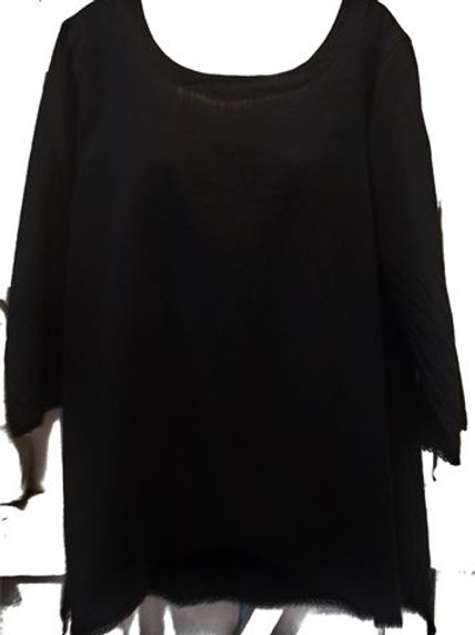 Gauze Tunic Lace Trim In Black