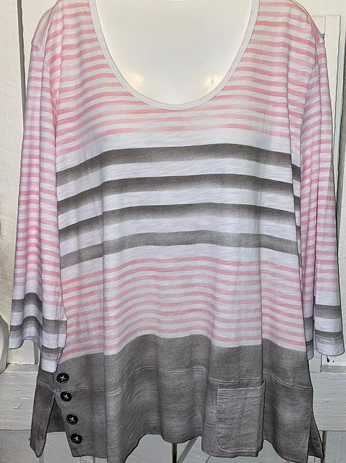 Striped Button Shirt in Blush/Taupe