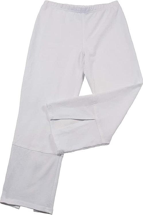 Stretch Denim Back Slit Capri in White