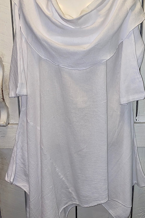 Cowl Neck Gauze Tunic in White