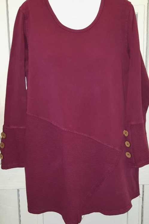 Coconut Button Sleeve Tunic in Berry