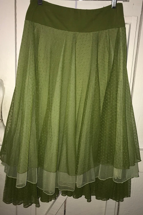 Layered Lace Skirt in Olive Green