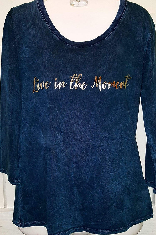 Live in the Moment Distressed Tee