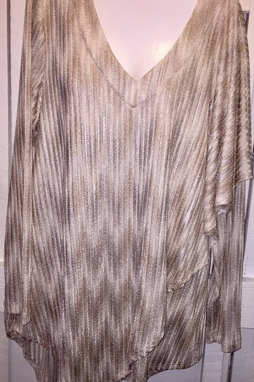 Metallic Blouse/Poncho in champange