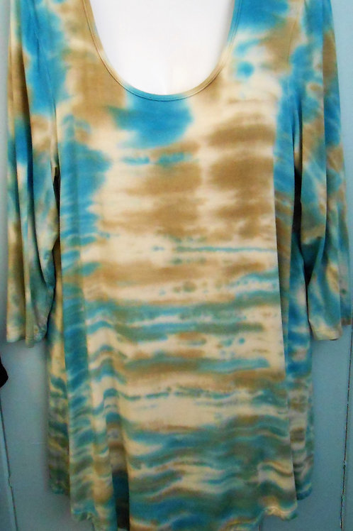 Tye-Dye Tunic In Beige/Blue