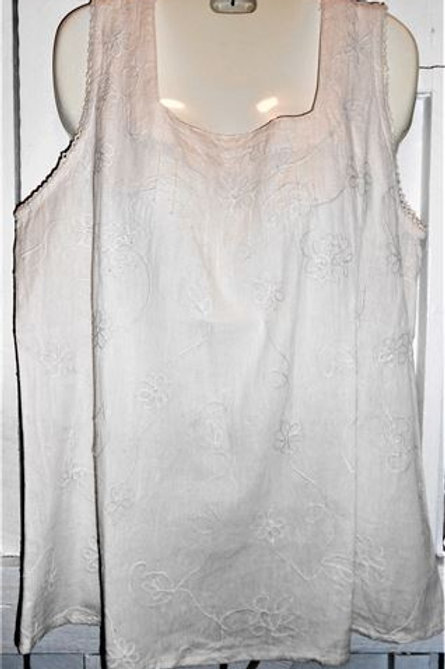 Gauze Embellished Lace Tank Top In Ivory