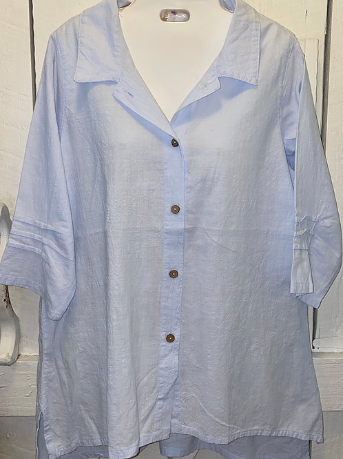 Gauze Button Up in Spa Blue