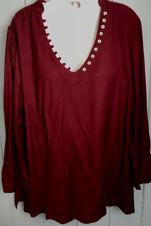 Bell Sleeve Blouse In Wine