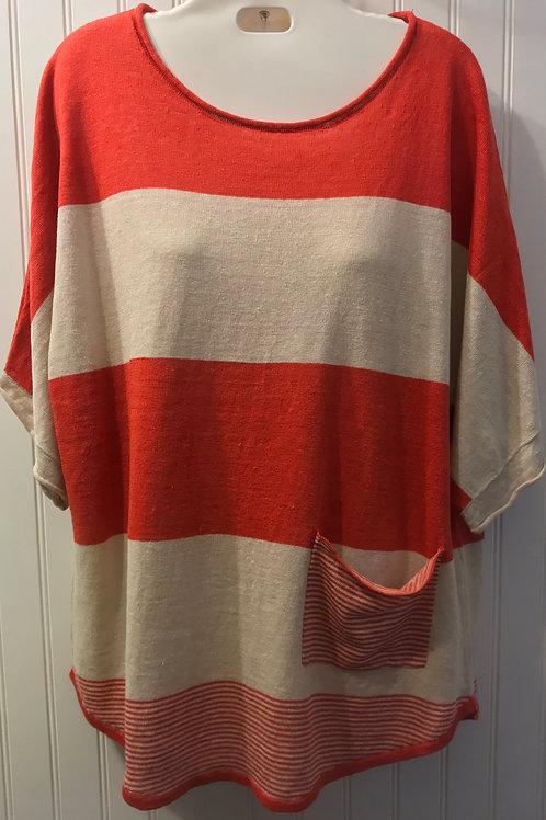 Linen Stripe Shirt in Red/Sand