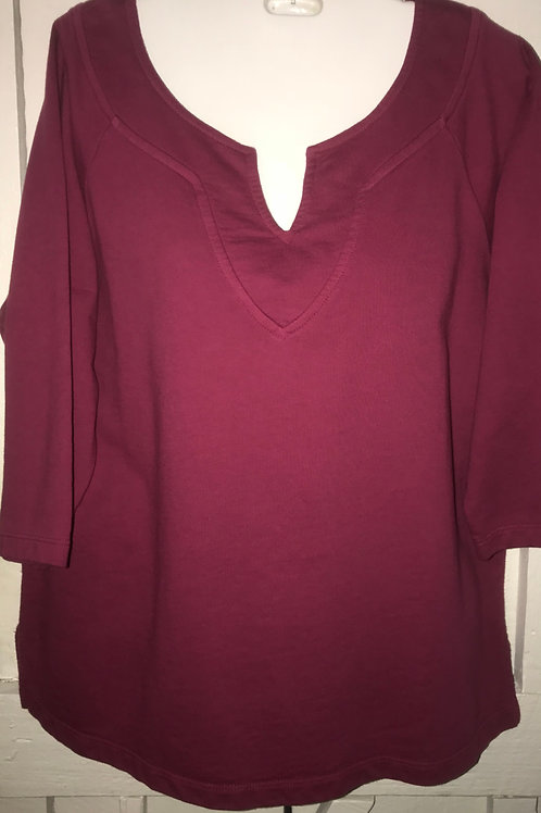 French Terry Split Neck Sweater in Wine
