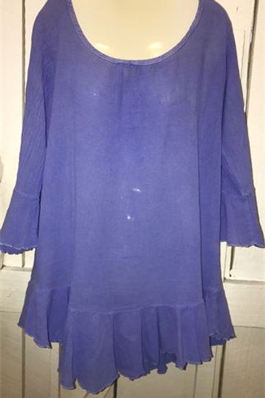 Bell Sleeve French Gauze Top In Peri
