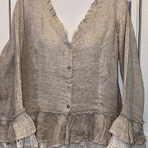 Ruffle Linen 3/4 Sleeve Tunic