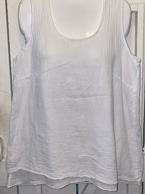 Double Layer Bubble Gauze Tank in White
