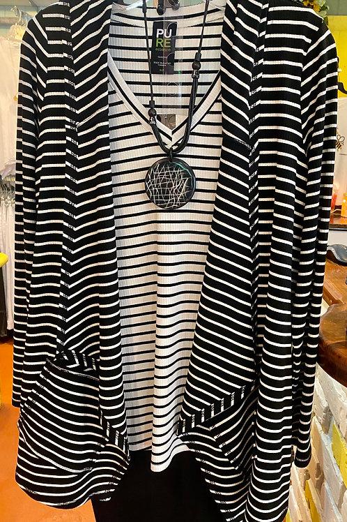 Black & White Striped Cardigan Hoodie