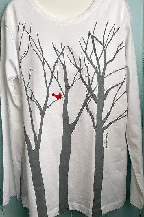 Tee Tree Bird Shirt In White