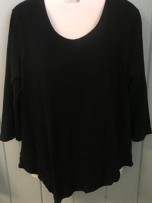Asymmetrical Top With Ribbed Hem In Black