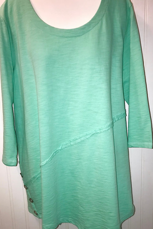 Asymmetrical Tunic with Metal Side Buttons in Sea Foam