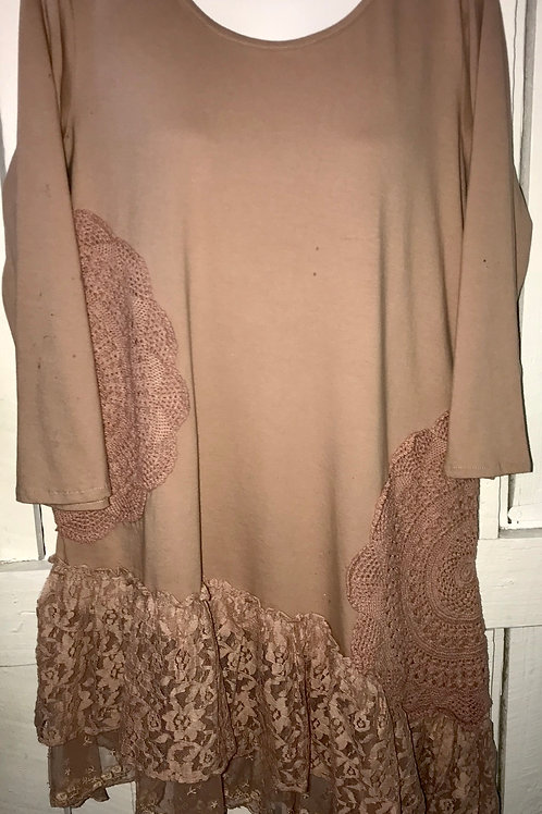 Crochet Lace Tunic in Tea Rose