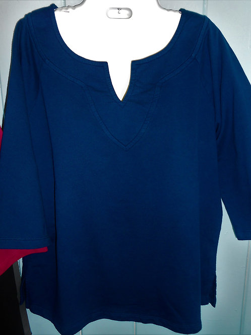 French Terry V-Knotch Pullover Sweater In Navy