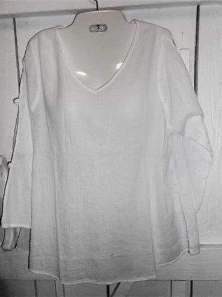 3/4 Peek-A-Boo Sleeve Gauze Top in White