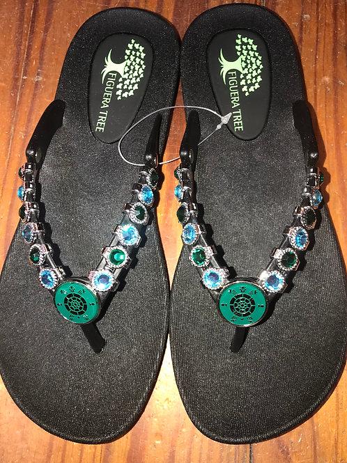 Turtle Sandals in Black