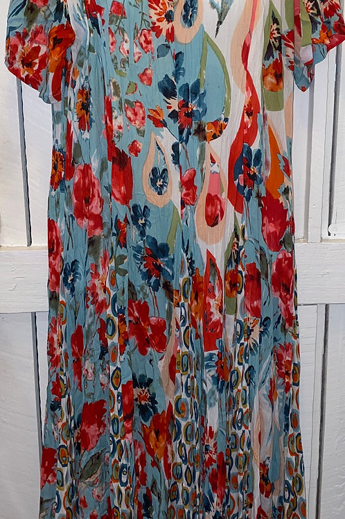 Kefalonia Crinkle Dress in Sky Blue