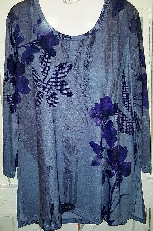 Purple Flowers Blouse  in Dusty Blue