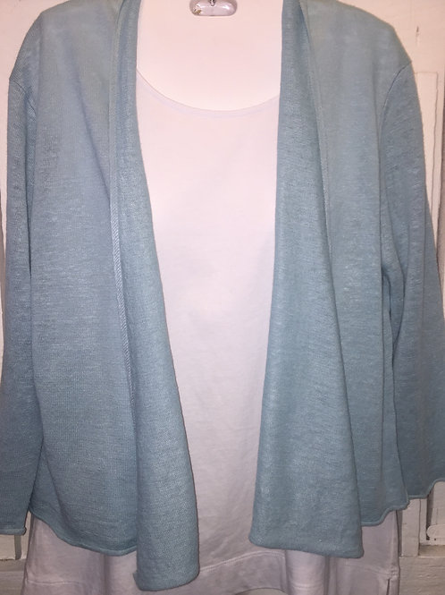 Linen Knit Cardigan in Sky Blue