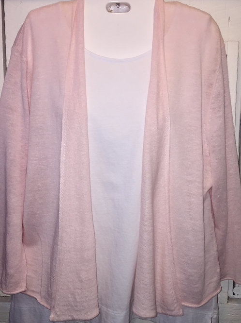 Linen Knit Cardigan in Pink