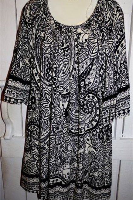 Paisley Print Dress in Black