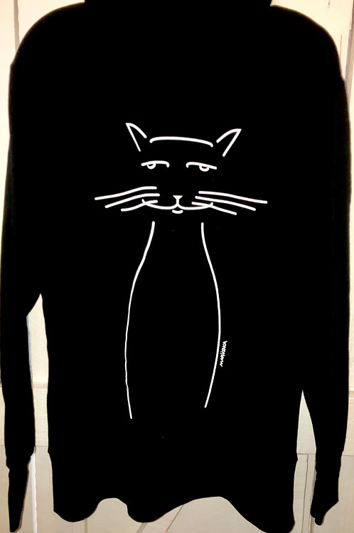 Cat Face Zip Up Jacket in Black