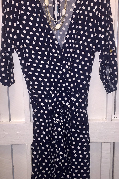 Bitsy Romper Polka Dots in Navy