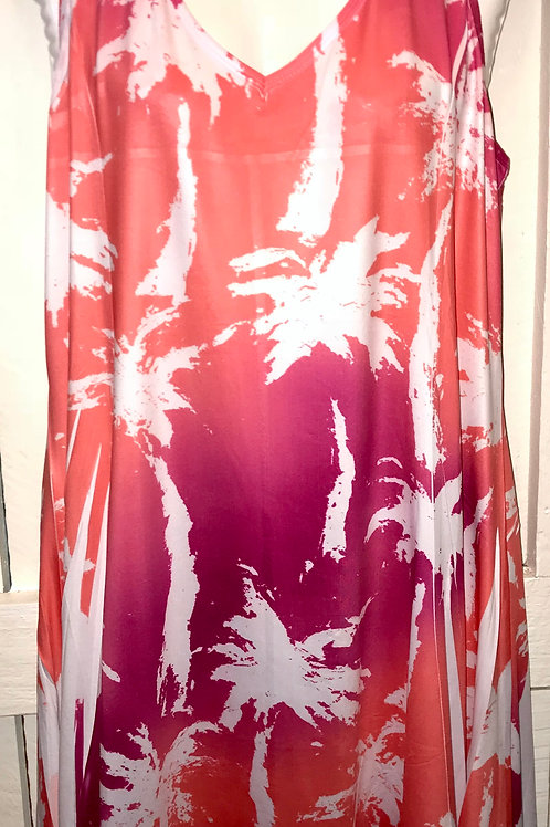 Adult Abstract Palm Tree Dress in Pink
