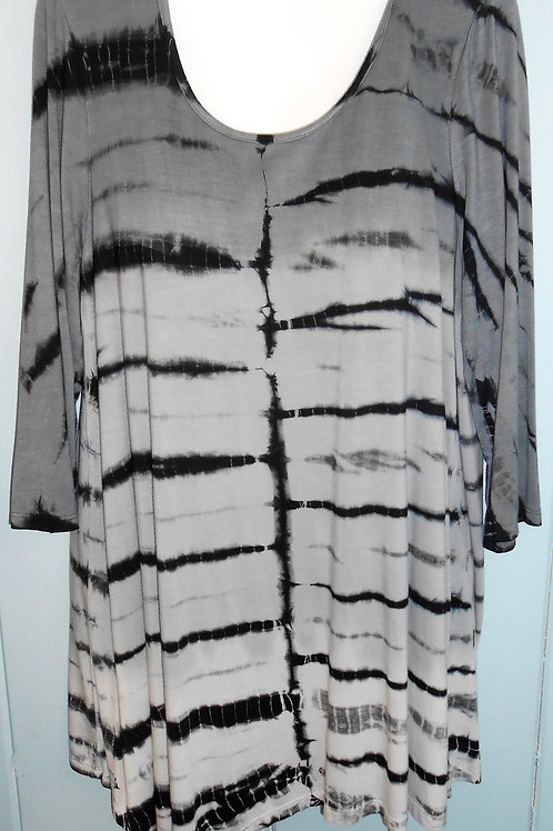 Tye-Dye Tunic In Black/Grey