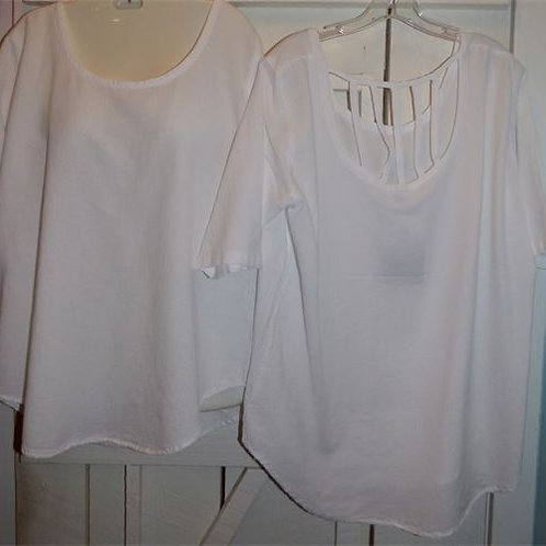 Lattice Back Gauze Top in White