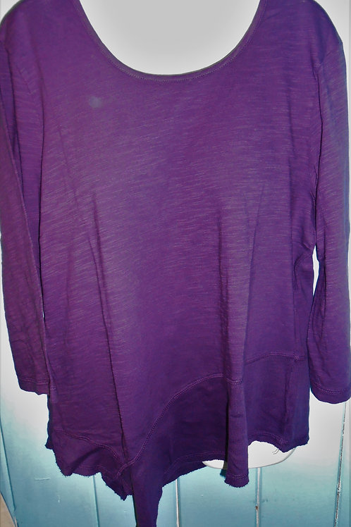 Asymmetrical Top With Ribbed Hem In Plum