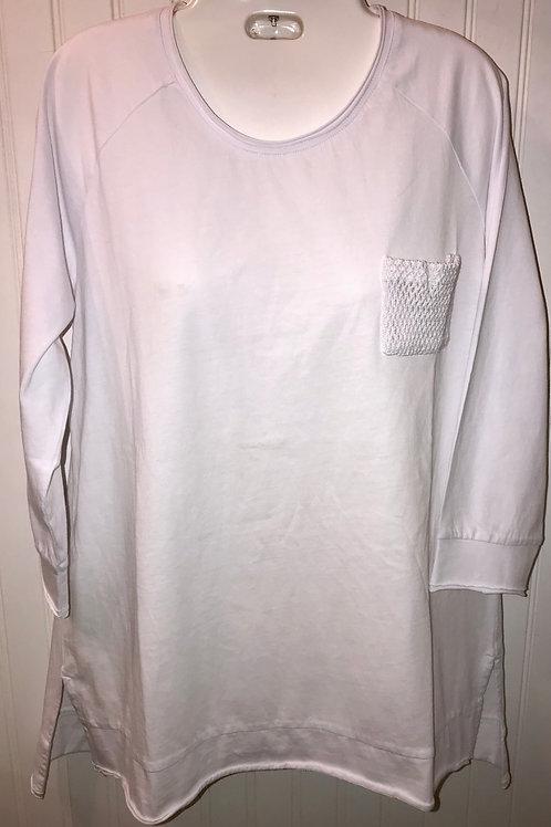Mesh Pocket Blouse in White