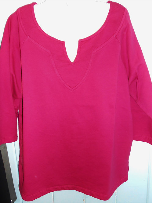 French Terry V-Knotch Pullover Sweater In Wine