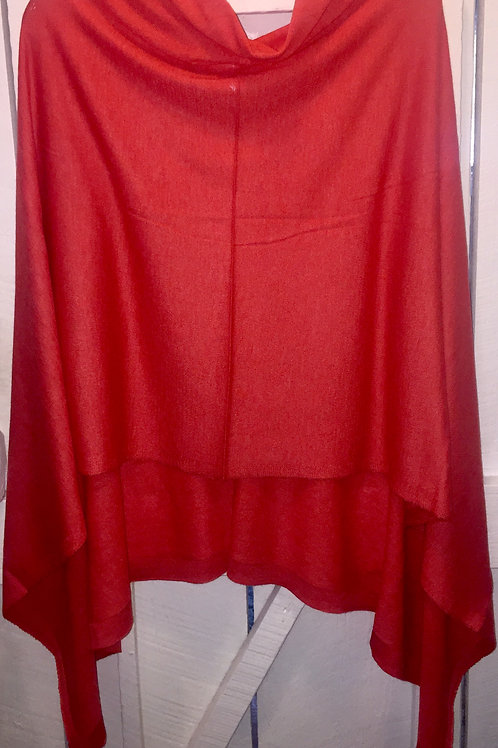 Throw Over Poncho in Coral