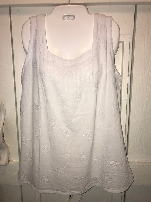 Gauze Embellished Tank Top in White