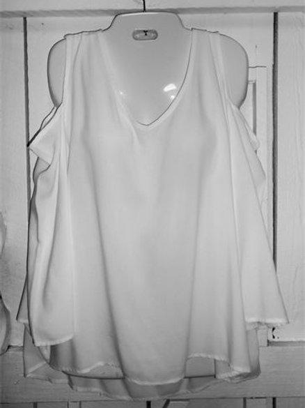Rayon 3/4 Peek-A-Boo Sleeve Top in White