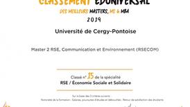 """Le Master 2 """"RSE, communication et environnement"""" de CY Cergy Paris Université classé parm"""