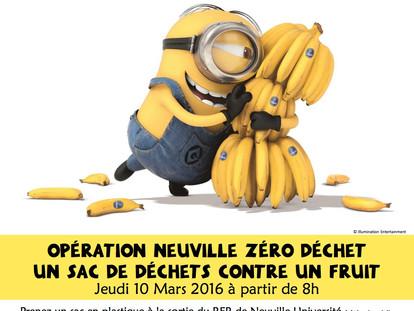 """Grand succès pour l'opération """"un sac de déchets contre un fruit"""" : un container de dé"""