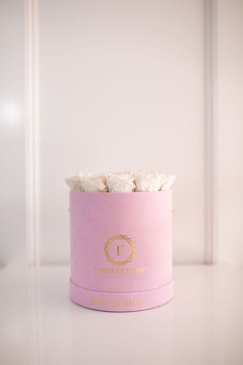 Francesca Pink Box and White Roses