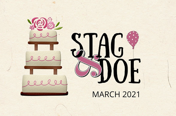 Stag & Doe. March 2021. A tiered wedding cake set against a parchment background. A pink and white dotted balloon.